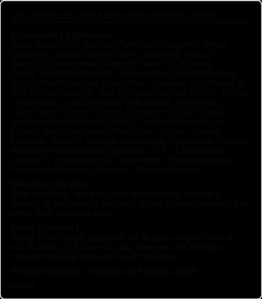 Uth Rejuvenation creme by Mannatech - Supplement Facts -Glyconutritionshop